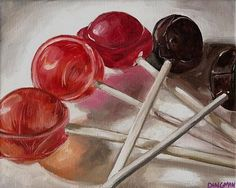 suckers, still life drawing of lollipops, shows movement and color value scales