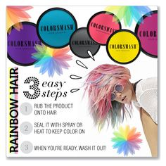 """""""Temporary Rainbow Hair: 3 Easy Steps"""" by kellylynne68 ❤ liked on Polyvore featuring beauty, COLORSMASH, Old Navy, hair, rainbow, rainbowhair and temporaryhaircolor"""