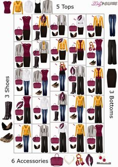 Currently have these pieces: yellow cardigan, burgundy bag, black tank, jeans, black pants, black boots, black flats, leopard flats, yellow scarf, white scarf.    Need:  White blouse, black flare skirt