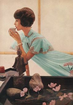 1950s fashion photo from Harpers Bazaar April 1959.    A peignoir* and under gown of delicate Lapis Lazuli blue. The peignoir is accorded a look of shoulder width by an insert of ecru lace, edging a fluted, short cape sleeve. By Van Raalte, in nylon tricot.    *A peignoir is a long outer garment for women which is frequently sheer and made of chiffon or other translucent fabrics.    Photo by Gleb Derujinsky.  Model: Ruth Neumann Derujinsky