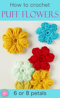 Crochet Flowers Easy How to crochet an easy flower. Create crochet flowers to use as decoration and appliqué or join many for a blanket, scarf, poncho, cushion etc. Step by step video tutorial. Scrap Yarn Crochet, Bag Crochet, Free Crochet, Crochet Stars, Crochet Baby, Crochet Puff Flower, Flower Applique, Crochet Flowers, Diy Flowers