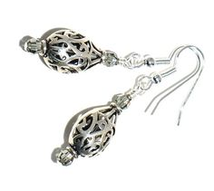 Silver Filigree Earrings with Swarovski by BrankletsNBling on Etsy