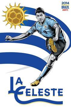La Celeste, Uruguay #espn #posters #fútbol #soccer #brazil #rio #worldcup #graphics #teams #laceleste #uruguay #suarez #9