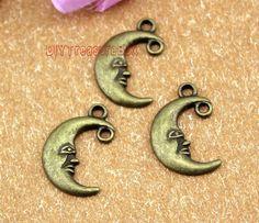 30pcs-Moon charms, Antique Bronze moon Pendants / charms 18x12mm