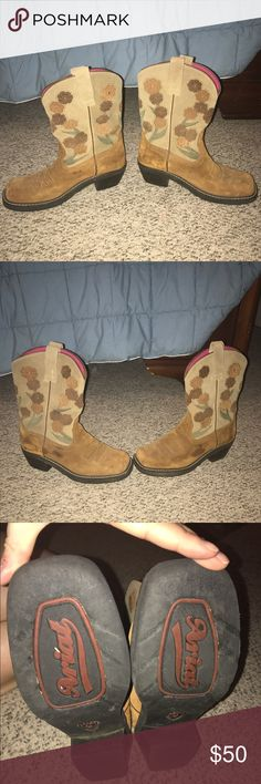 Ariat boots. Swede western boots, with flowers on top, minimal wear. Ariat Shoes Heeled Boots
