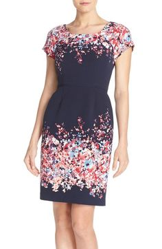 Adrianna Papell Floral Print Fit & Flare Dress (Regular & Petite) available at #Nordstrom  For the Rehearsal dinner? I think the coloring would look lovely on you