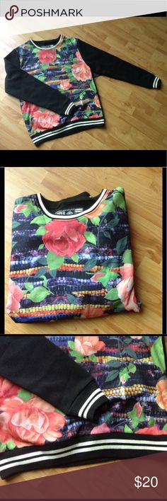 NWT Men's Rose Print Sweatshirt NWT Men's Rose Print Sweatshirt; Contrasting Wrist Cuffs and Waistband; Fabric: 65% Polyester 35% Cotton Super Massive Shirts Sweatshirts & Hoodies