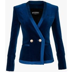 Balmain Cotton velvet double-breaster blazer ($1,385) ❤ liked on Polyvore featuring outerwear, jackets, blazers, cotton jacket, blue velvet blazer, blue jackets, double breasted jacket and slim fit jacket