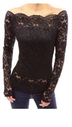 Gorgeous Lace! Sexy Black Lace Stylish Slash Collar Off-The-Shoulder Long Sleeve Solid Color Lace Women's Pullover #Sexy #Black #Lace #Off #Shoulder #Top #Pullover #Fashion