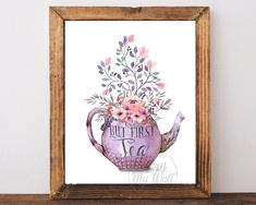 But First Tea, Kitchen Wall Art, Tea Print, Tea Poster, Tea Quote, Kitchen Decor, Teapot Print, Time For Tea, Digital Download, Printable by AdornMyWall on Etsy