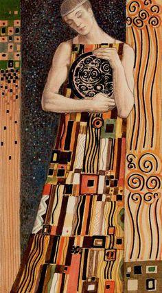 Page of Coins - Golden Tarot of Klimt by Atanas Alexander Atanssov
