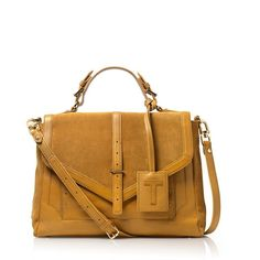 Tory Burch Suede And Leather Large 797 Satchel ($438) found on Polyvore