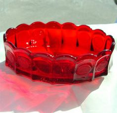 Vintage 1960's FOSTORIA Ruby RED COIN Pattern Bowl by GypsySeller, $56.00