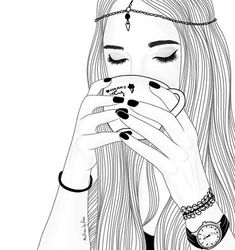 girl, drawing, and outline image Tumblr Girl Drawing, Tumblr Sketches, Tumblr Drawings, Tumblr Art, Girl Drawing Sketches, Girly Drawings, Outline Drawings, Girl Sketch, Art Drawings Sketches Simple