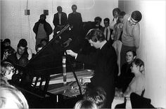 "George Brecht performing his ""Incidental Music"" in Amsterdam in 1961. Many of his ""pieces"" consisted just of instructions."