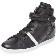 Barbara Bui Barbara Bui Women's Python Hidden Wedge Hi-Top - Black -... ($399) ❤ liked on Polyvore featuring shoes, sneakers, black, black shoes, black hi top sneakers, black hidden wedge sneakers, high top shoes and black high top shoes