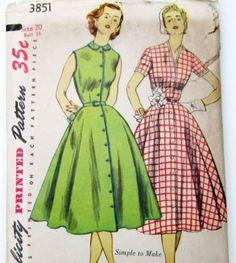 Vintage Dress Pattern 1950s Shirtwaist Dress by WitNWhimzy on Etsy, $12.00