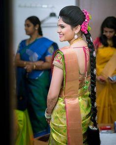 Image may contain: 3 people, people standing Bridal Silk Saree, Saree Wedding, Silk Sarees, Indian Wedding Hairstyles, Bride Hairstyles, Bridal Blouse Designs, Saree Blouse Designs, Blouse Patterns, Wedding Saree Collection