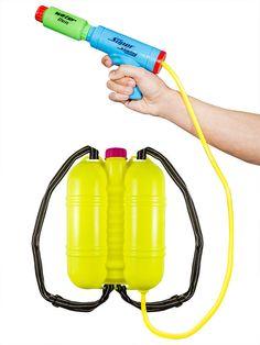 Wasserschlacht auf einem neuen Level: Blau-grüne Wasserpistole mit separatem Tank in Gelb!