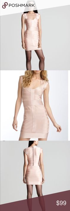 French Connection  Bandage Dress  Cupid NWT 8 New with tags French Connection Bandage Dress Cupid   Size 8 US 12UK   Very flattering  Neutral Pink/ Nude colour  Has a metallic  shimmer threading  Zipper down mid back  No trades French Connection Dresses Mini