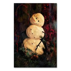 "Trademark Art 'Forest Snowman' by Lois Bryan Painting Print on Wrapped Canvas Size: 24"" H x 16"" W x 2"" D"