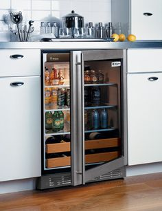 Avanti Wine Cooler + Beverage Center Open the French doors to a ...