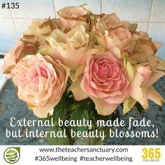 #135/365 #365wellbeing  External beauty made fade, but internal beauty blossoms! #TopTips #TakeTheOxygenFirst #TeacherWellbeing #TheTeacherSanctuary #EveryTeacherMatters #KathrynLovewell #InternalBeauty #Beauty #Breathe #KindMind #Blossom #Reflect #Beautiful #Happiness