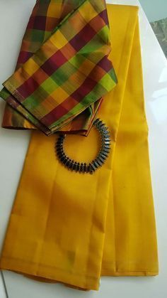 Best 12 Yellow Color Solid Georgette Saree Golden Foil Border With Unstitched Blouse – SkillOfKing. Cotton Saree Designs, Saree Blouse Neck Designs, Fancy Sarees, Trendy Sarees, Checks Saree, Saree Models, Blouse Models, Plain Saree, Saree Trends