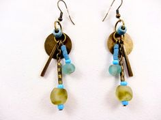 Rustic drops earrings, african, ethnic. Unique creation in recycled glass beads from Ghana, olive and aqua green. beads