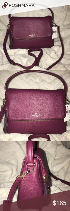 "Kate Spade Miri Chester Street Pebbled leather   Color:Rioja/Mahogany   FLap top with magnetic snap closure   Gold-tone hardware   Single top handle with 4"" drop   Detachable and adjustable longer shoulder w 21"" drop   1 interior zip pocket and qopen slide pockets   Fabric lining, tassel and   9.5""top & 11""bottom(L) * 8.5""(H) * 4.25""(D) Kate Spade Miri Chester Street Satchel Handbag Crossbody Bag Rioja Mahogany Pink kate spade Bags Satchels"