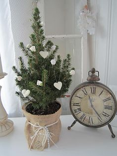 .tiny tree, for kitchen counter with hanging hearts