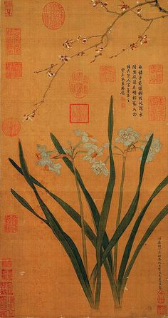 Chinese painting 明-仇英-水仙蠟梅 From the National Palace Museum in Taipei.