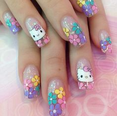 Hello Kitty Jewelry, Hello Kitty Nails, Chrome Nail Art, Kawaii Nails, Nails For Kids, Stiletto Nail Art, Red Nail Designs, Cat Nails, Rainbow Nails