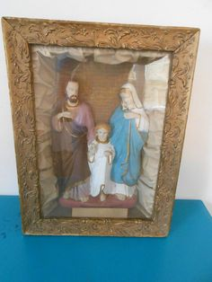 Antique VTG 1892 Home Alter Of Holy Family Contraternity