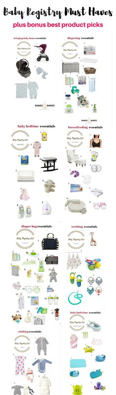 baby registry must haves checklist.Find out what you really need, to prepare for the arrival of your baby.Also,includes top baby product picks and detailed buying guides.
