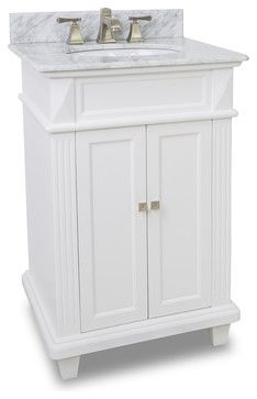 Small White Bathroom Vanity With Marble Top And Sink (24 Inches Wide)  Transitional