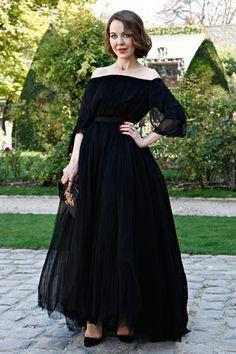 Ulyana Sergeenko wearing Ulyana Sergeenko dress for Dior show in Paris. Streetstyle