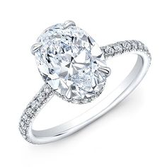 2.10 Ct. Hidden-Halo Oval Cut Diamond Engagement Ring G Color VS2 GIA Certified