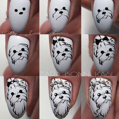 Look at these gel christmas nails Dog Nail Art, Animal Nail Art, Dog Nails, Crazy Nail Designs, Nail Polish Designs, Christmas Nail Art Designs, Christmas Nails, Nail Art Hacks, Nail Art Diy