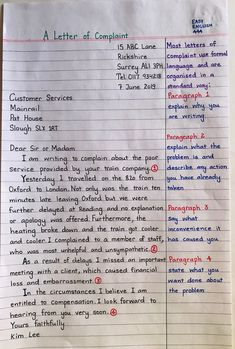 Letter writing - New Sites English Letter Writing, Formal Letter Writing, English Grammar Notes, Teaching English Grammar, English Grammar Worksheets, English Vocabulary Words, English Phrases, Learn English Words, Writing Words