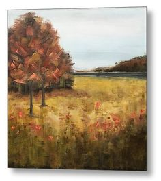 Here's to the last night of summer - a taste of autumn. Just finished this - heading to gallery tomorrow. Landscape Paintings, Landscapes, Modern Industrial Decor, Fields Of Gold, Reclaimed Wood Art, Mixed Media Art, Original Artwork, Abstract Art, Contemporary