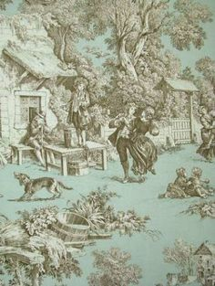 """Lutece Lagoon:Kravet fabric scenic toile 100% cotton multi purpose decorator toile fabric. Suitable for upholstery or drapery. 27"""" repeat. 54"""" wide"""