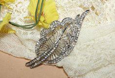3 Vintage Leaf crystals Rhinestones Bridal Hair by blinggarden, $9.99