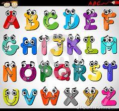 Ilustração dos desenhos animados do alfabeto das letras principais