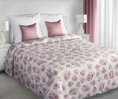 Narzuta dwustronna na łóżko w kolorze kremowym w różowe kwiatuszki