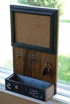 Combination Bulletin Board, Chalkboard, Key Holder from Repurposed Items