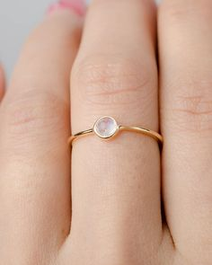 Moonstone Birthstone Ring- Gemstone Jewelry- Dainty Stacking Ring-Simple Midi- Skinny Gold Ring- - Super cute, minimalist elegant ring Sterling Silver, Yellow or Rose Gold Vermeil ring features a - Rose Gold Engagement Ring, Vintage Engagement Rings, Diamond Wedding Bands, Wedding Rings, Wedding Gold, Morganite Engagement, Gold Bands, Diy Wedding, Wedding Ideas