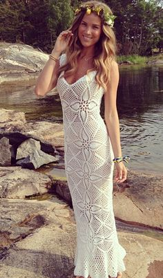 Emma Östergren - white crochet maxi dress