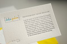 Business cards, notecards & copyright cards for Chelsie Graham Photography by Mil Letterpress