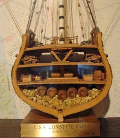 Handcrafted cross section, lower decks, scale model of the USS CONSTITUTION by modelcrafter Hilding C. Model Ship Building, Boat Building, Uss Constitution, Lower Deck, Below Deck, Wooden Ship, Remote Control Toys, Boat Plans, Wooden Boats